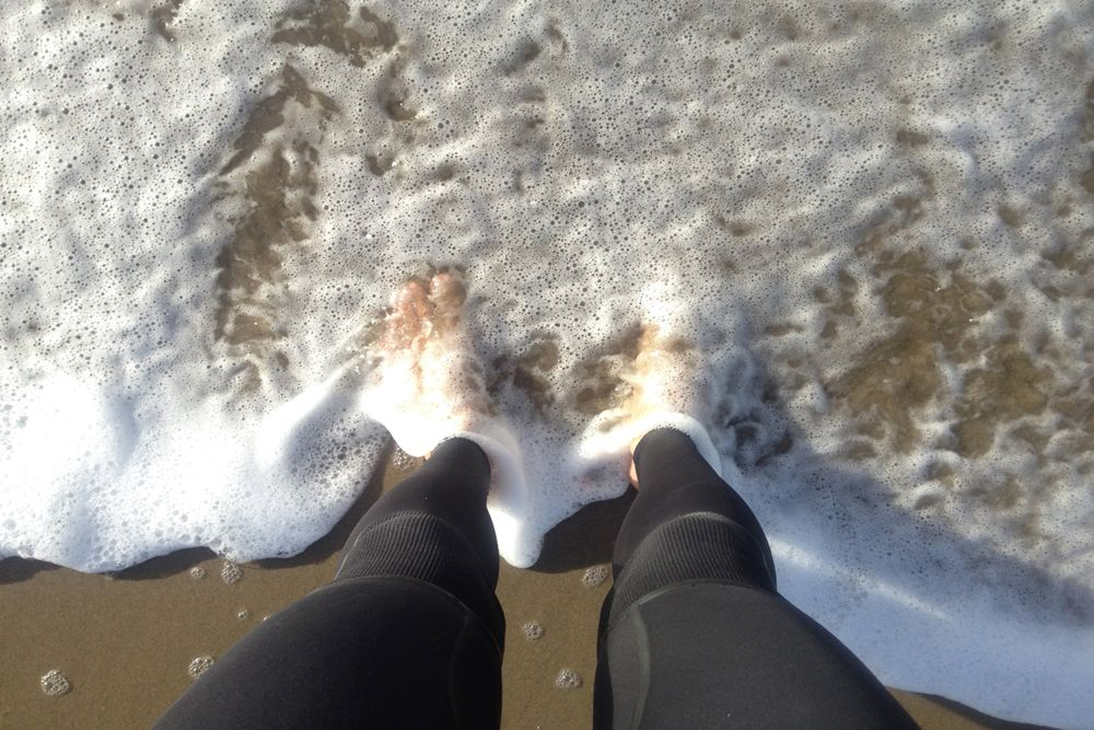 Feet in Surf at Venice Beach