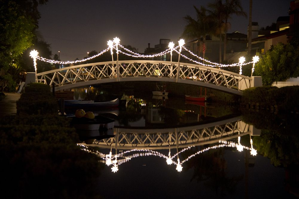Venice Canals Holiday Decorated Bridge