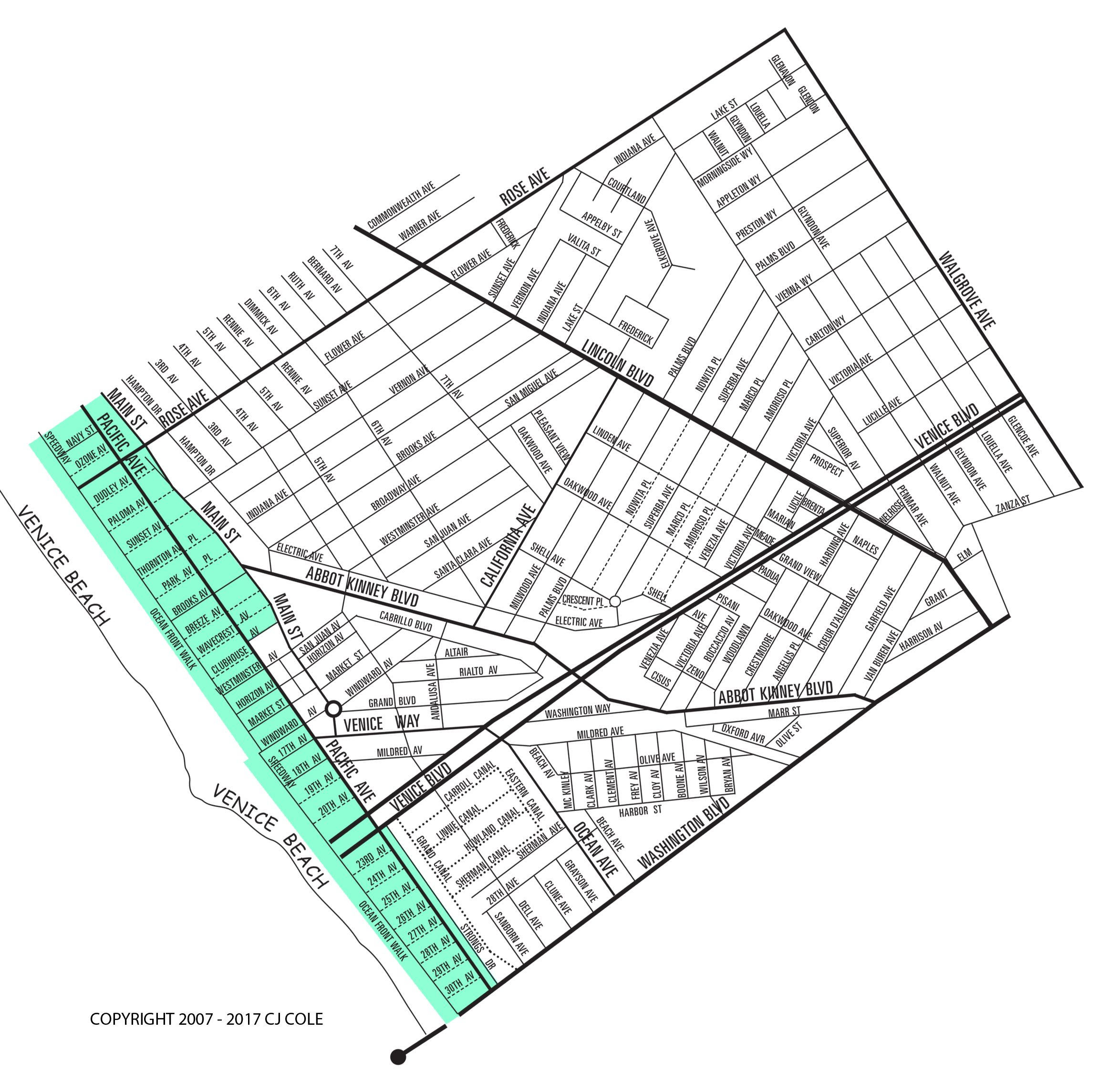 The Venice Beach Neighborhood Map