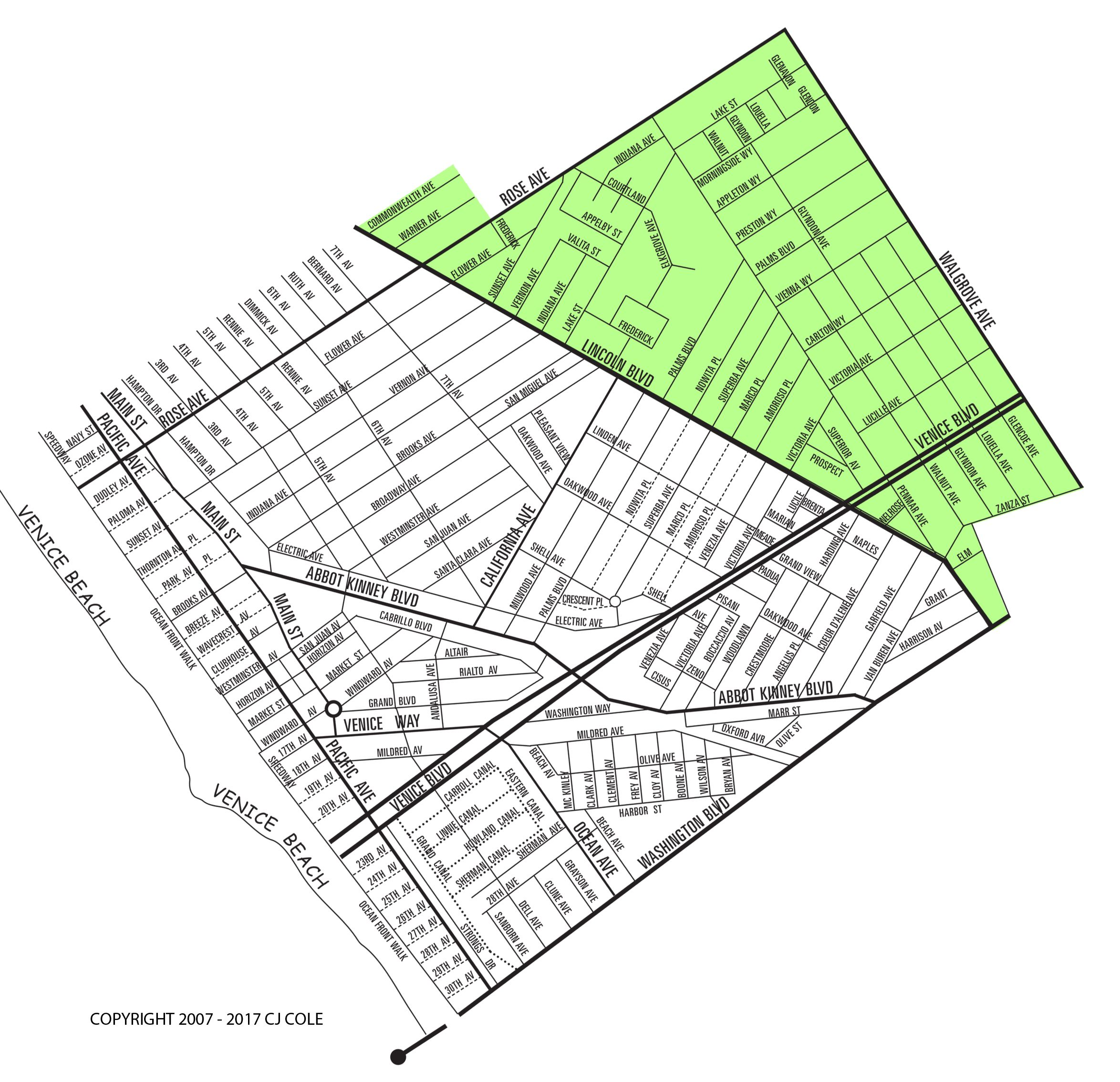 The East of Lincoln Neighborhood Map